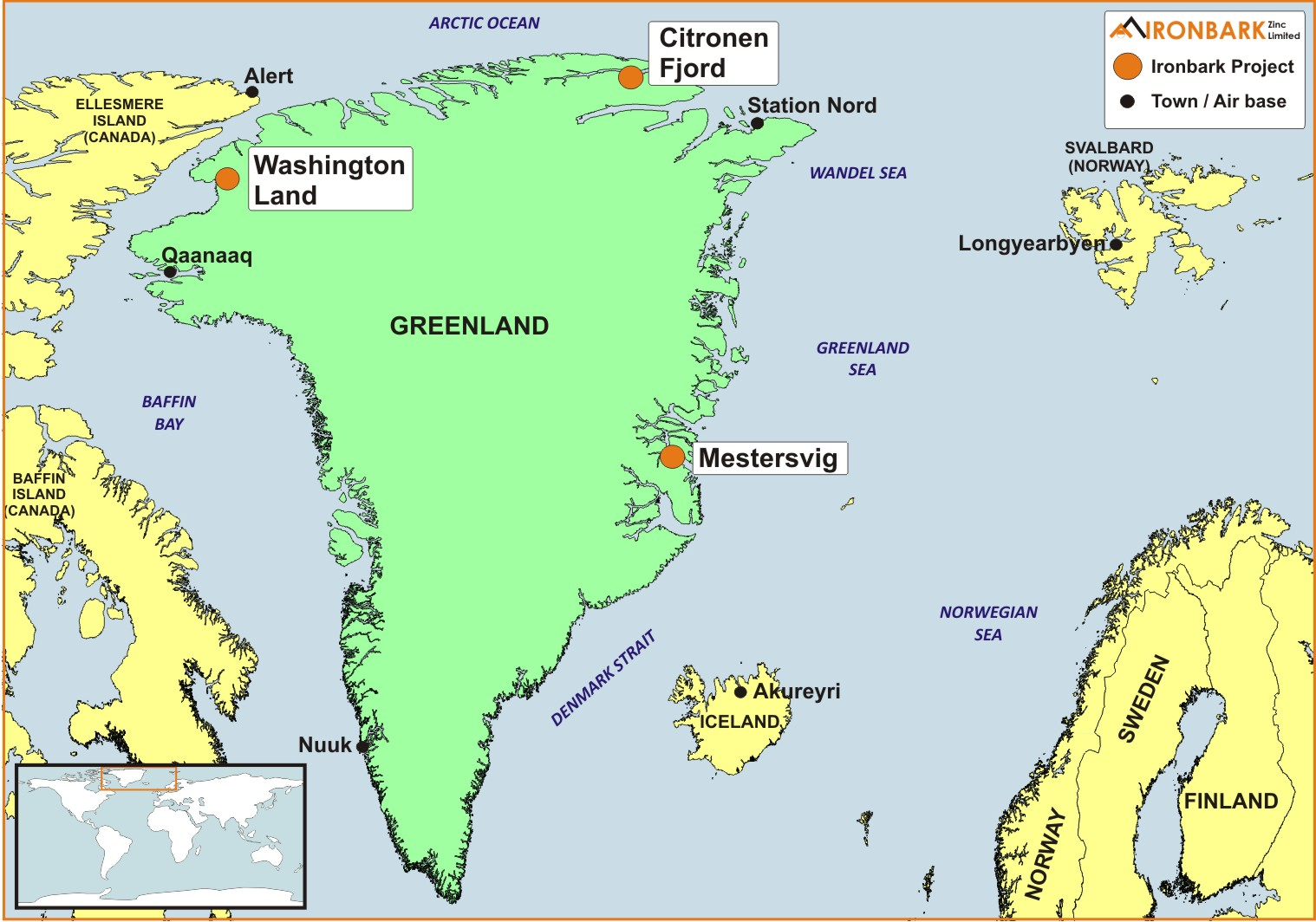 Greenland projects ironbark zincironbark greenland project location map gumiabroncs Image collections